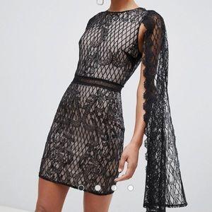 True Decadence sequin lace cape pencil dress